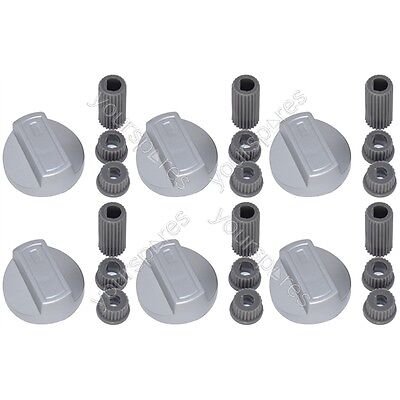 6 X Bosch Universal Cooker/Oven/Grill Control Knob And Adaptors Silver