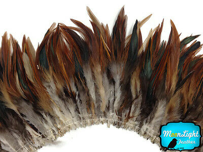 4 Inch Strip - NATURAL RED BADGER Strung Chinese Rooster Saddle feathers