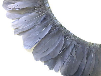 1 Yard - Silver Gray Goose Pallet Parried Feather Trim Nagoire Satinettes Supply