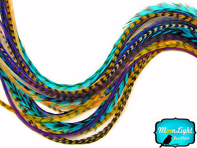 12 Strands - COOL MIX Thin Long Grizzly Rooster Hair Extension Feathers