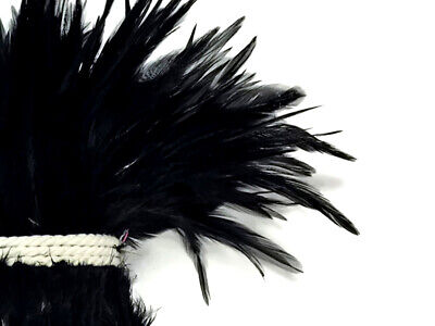 1 Yard - BLACK Strung Chinese Rooster Saddle Wholesale Feathers (bulk)