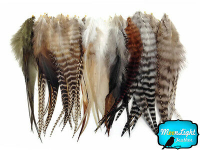 100 Pieces - Natural Medium Length Rooster Hair Extension Feathers Wholesale