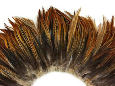4 Inch Strip - FURNACE RED Strung Rooster Neck Hackle Feathers