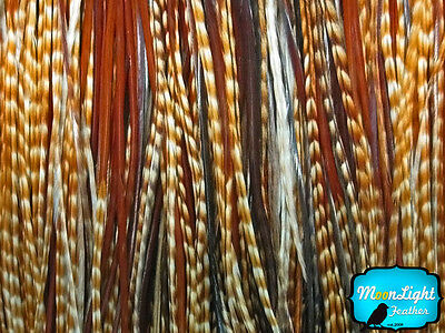 100 Pieces - Unique Ginger Thin Long Rooster Hair Extension Feathers Wholesale