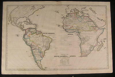 Political map of South America & Africa 1843 fine old vintage antique map