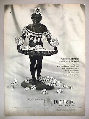 Harry Winston Jewelry PRINT AD - 1948 ~ White Brilliance from Deepest Africa