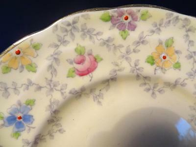 1930S Crown Staffordshire Hand Painted Pink Roses On Yellow Trio
