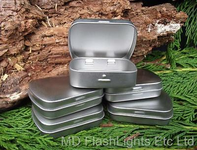 5 x SILVER MICRO HINGED TINS IDEAL FOR BUSHCRAFT SURVIVAL TINDER KITS