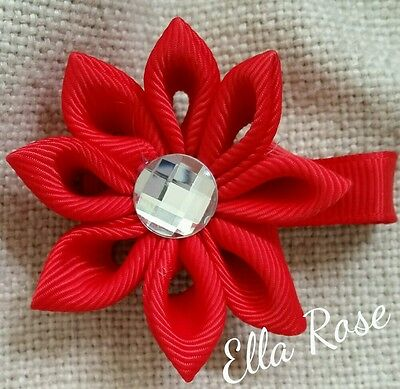 Hair Clip Flower Child Kids Girls Ribbon Butterfly Wedding Party Red Accessories