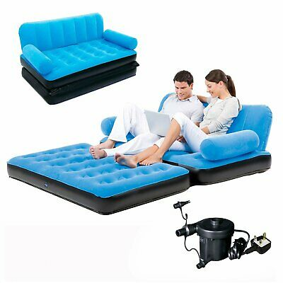 Inflatable Sofa Bed Double Airbed Couch Blow Up Lounger Air Mattress With Pump