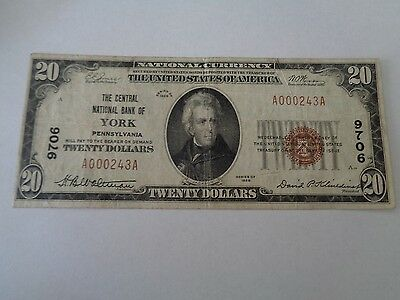 $20 National Currency Note Series 1929 Bank Of New York