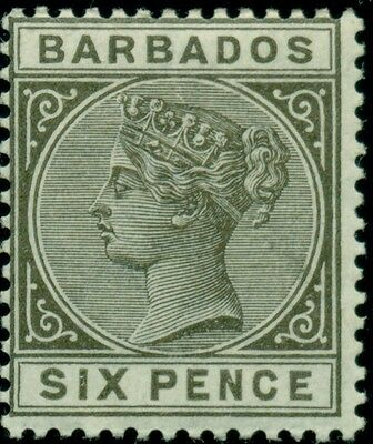 BARBADOS #85 6p olive gray, og, LH, Scott $85.00