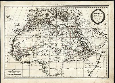 Northern Africa 1809 Lapie scarce weird Mts. of Moon old vintage antique map