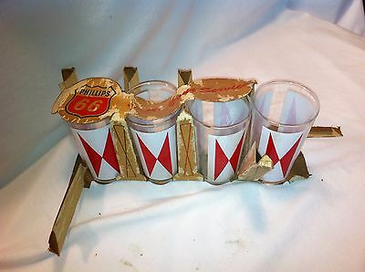 Vintage Phillips 66 Promo Red & White Bow-tie Drinking Tumblers