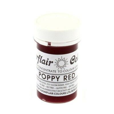 Sugarflair Essbare Fondant Paste Farbe 25g -Poppy Red Rot