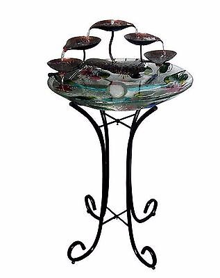 New Glass Birdbath Fountain, 3 Tier Leaf Waterfall Bird Bath Yard Patio Outdoor