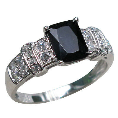 EXQUISITE 1.5 CT BLACK ONYX 925 STERLING SILVER RING SIZE 5-10
