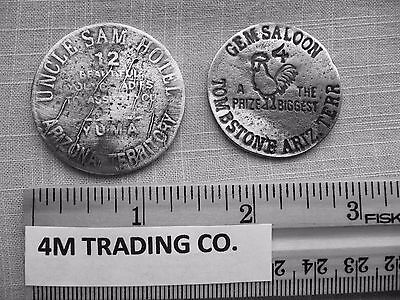 2 Brothel Tokens (Gem Saloon And Uncle Sam Hotel ( Tokens Of The Old West)