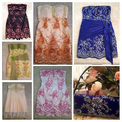 Lot Of 6 Khmer  Cambodian Wedding Prom Party Dress And Blue Match Clutch