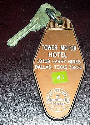Vintage Tower Motor Hotel  Dallas, TEX.  Hotel Motel Room Key & Fob