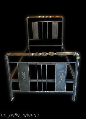 ANTIQUE FRENCH INDUSTRIAL METAL AND BRASS HOSPITAL / BONDAGE BED. L@@k!!