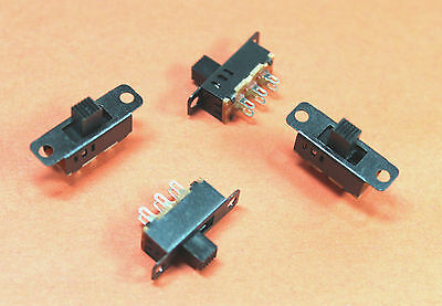 4pcs Mini DPDT Toggle Slide Switch - On Off On  - 3 Position - 23.3 x 7.3mm