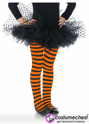 Child Halloween 11-13 yrs Girl Pumpkin Orange/Black Striped Tights by Leg Avenue