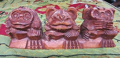 Hand Carved 3 Wise Monkey Statue Hardwood Ornament 25 cm Long Home Decor