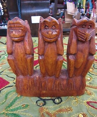 Hand Carved 3 Wise Monkey Statue Hardwood Ornament 12 x 12 cm Home Decor