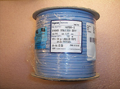 Reel 100M 1437356-3 Tyco 28 Awg Pvc Flat Cable 4 Conductor 300V Style 2651 Rohs