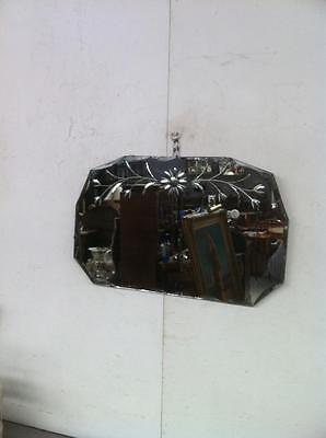 Art Deco Shaped Wall Mirror With A Bevelled Edge And A Floral Etched Design