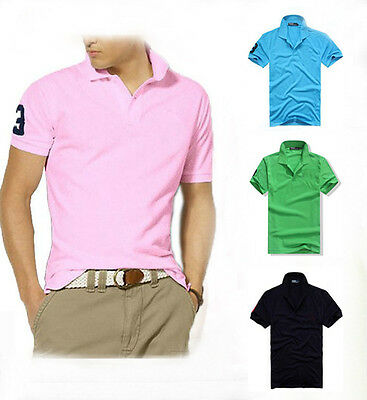 New Brand Men's Slim Sports Beach Short Sleeve Casual Polo Shirt T-shirts Tops