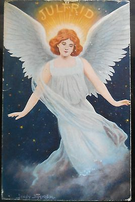 Antique Christmas Angel  Post Card Signed Jenny Nystrom  Sweden Greeting Card