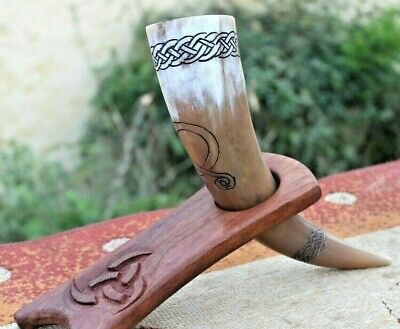 Handcrafted Viking usable Stein Ox Drinking wine beer Horn black leather holder