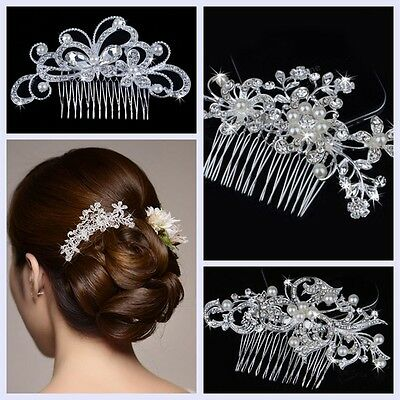 Rhinestone Crystal Flower Pearls Wedding Bridal Tiara Bride Hair Comb Headpiece