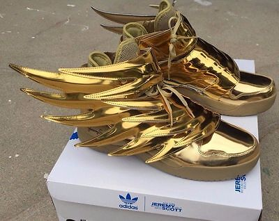 2156b0ee917b Adidas Jeremy Scott Wings 3.0 Metallic Gold Batman Shoes Sz 4-14 100%  Authentic