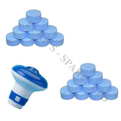 Chlorine Bromine Floating Dispenser with 30 x 20g Tablets for Pools Spa Hot Tub