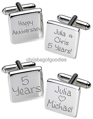 PERSONALISED WEDDING ANNIVERSARY CUFFLINKS for him ALL YEARS 20th 25th Gifts