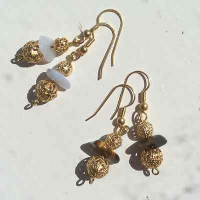 Gold filigree tigers eye, blue lace agate earrings. Discontinued sale. Irish