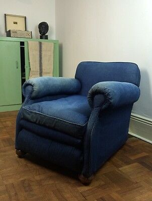 Vtg Antique 1930s Denim Lounge Cocktail Smoking French Club Chair Armchair