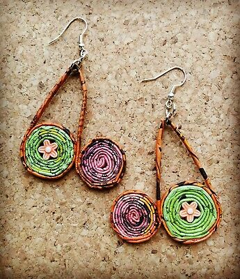 Handmade Recycled Paper Coiled Disc Eco Earrings Pink & Green Flowers Thailand