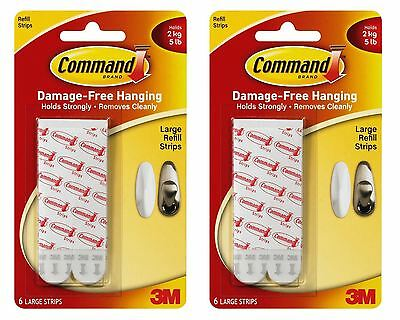12 X 3M Command Large Poster Picture Adhesive Hanging Strips Refill Damage Free