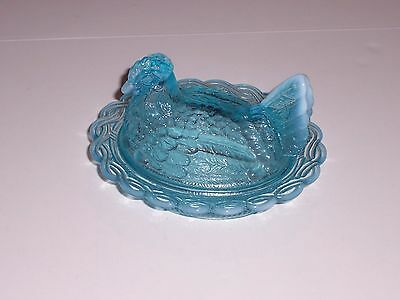Mosser Glass Aqua Opalescent Hen On Nest Covered Dish