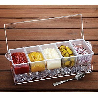 Ice Condiment Holder Chilled Container Salad Caddy Tray Holds ICE 5 Compartment