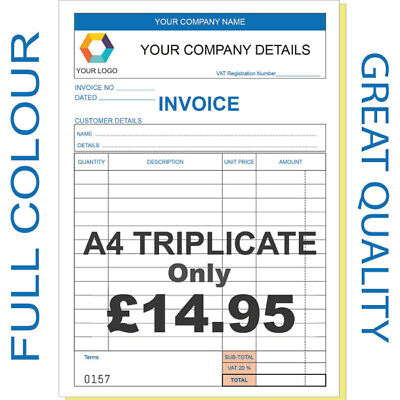 Personalised A4 Invoice Book, Triplicate / Ncr / Receipt/ Order, 50 Sets / Pad
