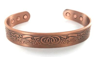 Mens COPPER MAGNETIC Bracelet VIKING DESIGN 6 Magnets Health Rare Earth NdFeB