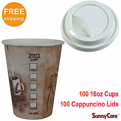 SunnyCare 100pcs 16 oz Hot Coffee Paper Cups and 100pcs White Cappuccino Lids