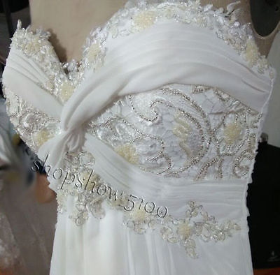 White Ivory Beach Chiffon Wedding Dress Bridal Gown Custom Size 6 8 10 12 14 16+