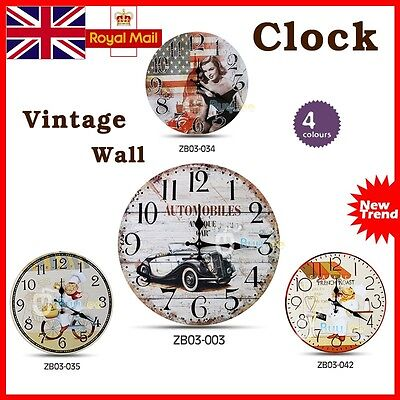 Large Vintage Rustic French Wall Clock - Kitchen Shabby Chic Retro Home