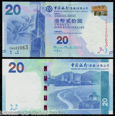 B-D-M Hong Kong Bank Of China 20 Dollars 2013 Pick 341 New Sc Unc